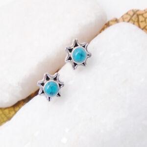 Mohave-Tuerkis-blau-rund-Bluete-Design-Ohrringe-Ohrstecker-925-Sterling-Silber-neu