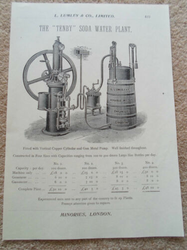 """TENBY"" SODA WATER PLANT Vintage Image Copy Print Lumley+Co Minories London #423"