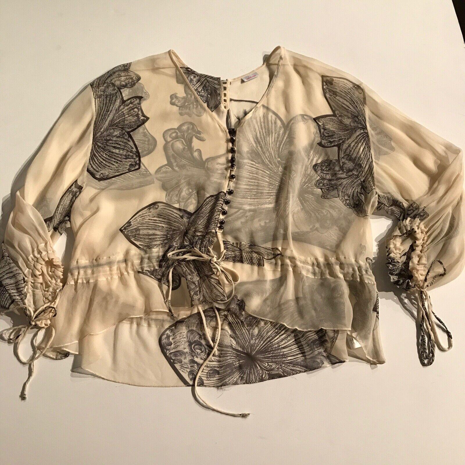 Sass & Bide Sheer Silk Floral Print Pattern OverGröße Blouse Shirt Top 2