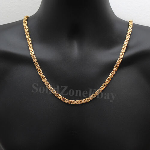"""18-28/"""" MEN Stainless Steel 6//8mm Silver//Gold//Black Flat Byzantine Chain Necklace"""