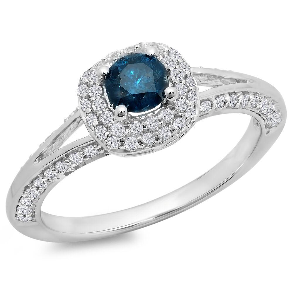 0.90 Carat 14K White gold Diamond Bridal Split Shank Halo Engagement Ring Size 5