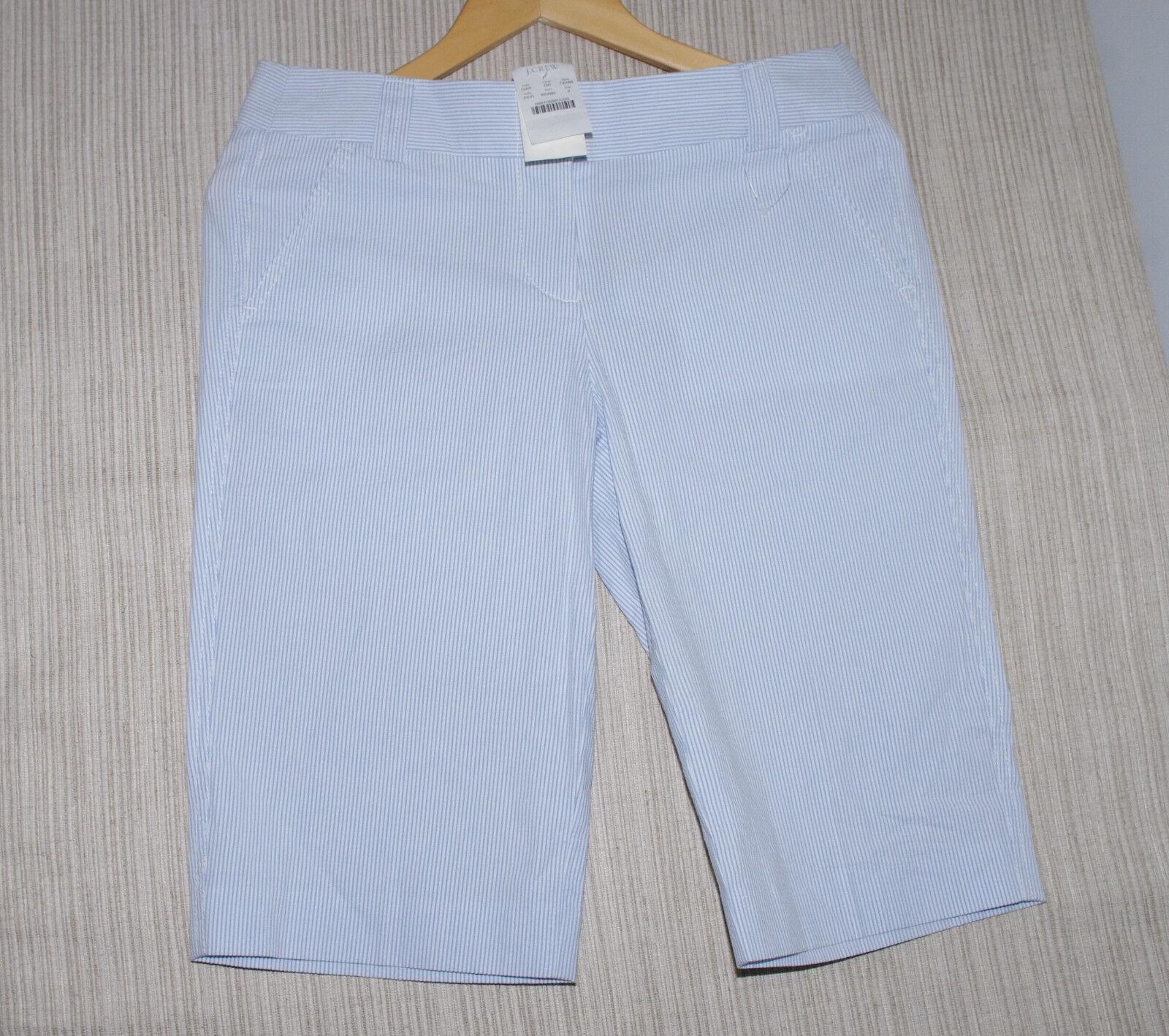J.Crew bluee White Cotton Striped Women Bermuda Shorts Size  2