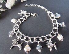 Poodle Dog Charm Bracelet with Freshwater Pearls & Swarovski Crystals