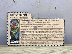 Vintage-1983-Gi-Joe-SHORT-FUZE-Mortier-soldat-fichier-Carte