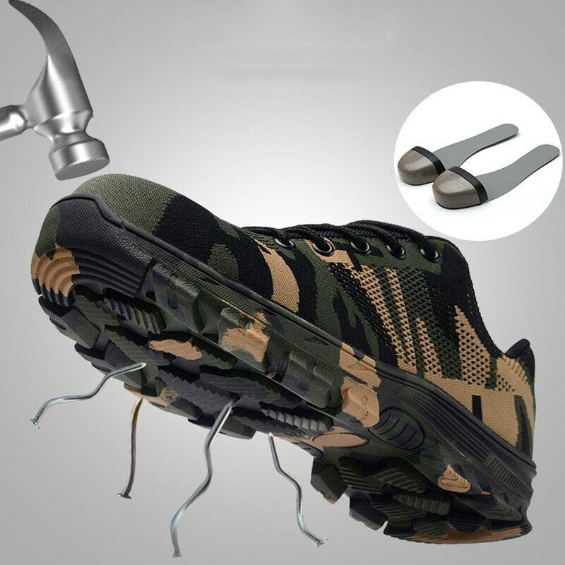 Homme Grande Taille en Plein Air chaussures Acier Orteil bottes Lacets Plateforme Marche chaussures