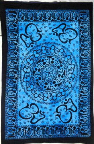 Cotton Blue Mandala Tapestry Bohemian Hippie Wall Hanging Decor Throw 40*30 Art