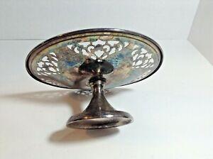 Vintage-Victorian-Plate-Silver-Plated-Cake-Stand-Platter-Pedestal-6-5-034-Diameter