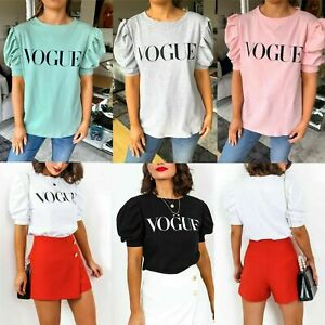 New-Women-039-s-Vogue-Slogan-Puff-Short-Sleeve-Cotton-Fashion-T-shirt-Top-Size-8-14