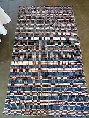 Antiques Sweet-Tempered Antique 1800's Red White Blue Handwoven Coverlet Blanket Middle Seam 56 X 99 To Ensure A Like-New Appearance Indefinably