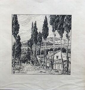 Monogrammist-dibujo-paisaje-en-provenza-con-casas-y-arboles-France