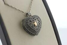 Sterling Silver & 18K Rose Gold Bali Intricate Design Heart Locket Pendant