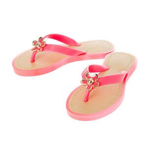 c2f6cfc9e27ff2 Girls Claire s Club Pink Flip Flop Sandals Gold Flower Trim Design ...