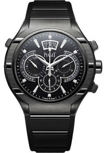 7ae3ec07e50 Image is loading Piaget-Polo-FortyFive-Flyback-Chronograph -GMT-Titanium-ADLC-