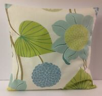 SHABBY CHIC-STYLE FLORAL  SINGLE CUSHION COVERS  SAGE GREEN DUCK EGG BLUE
