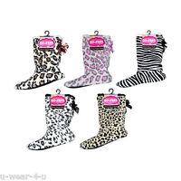 LADIES CO-ZEES SOFT FLUFFY CUTE SLIPPER BOOTIES 4-6 SHERPA ANIMAL BOOTS SOCKS