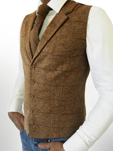 Da Uomo Tweed Tailored Fit Marrone Spina Di Pesce Gilet-peaky Blinder Classic