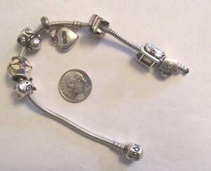5948f733a Image is loading Authentic-Pandora-Charm-Bracelet-with-7-Pandora-Charms-