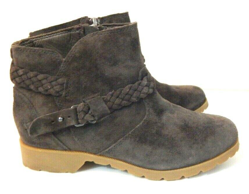 Teva Mujer 5 botas de la Viña al tobillo Botines De Gamuza Marrón Cuero Trenzado Usado En Excelente Condición
