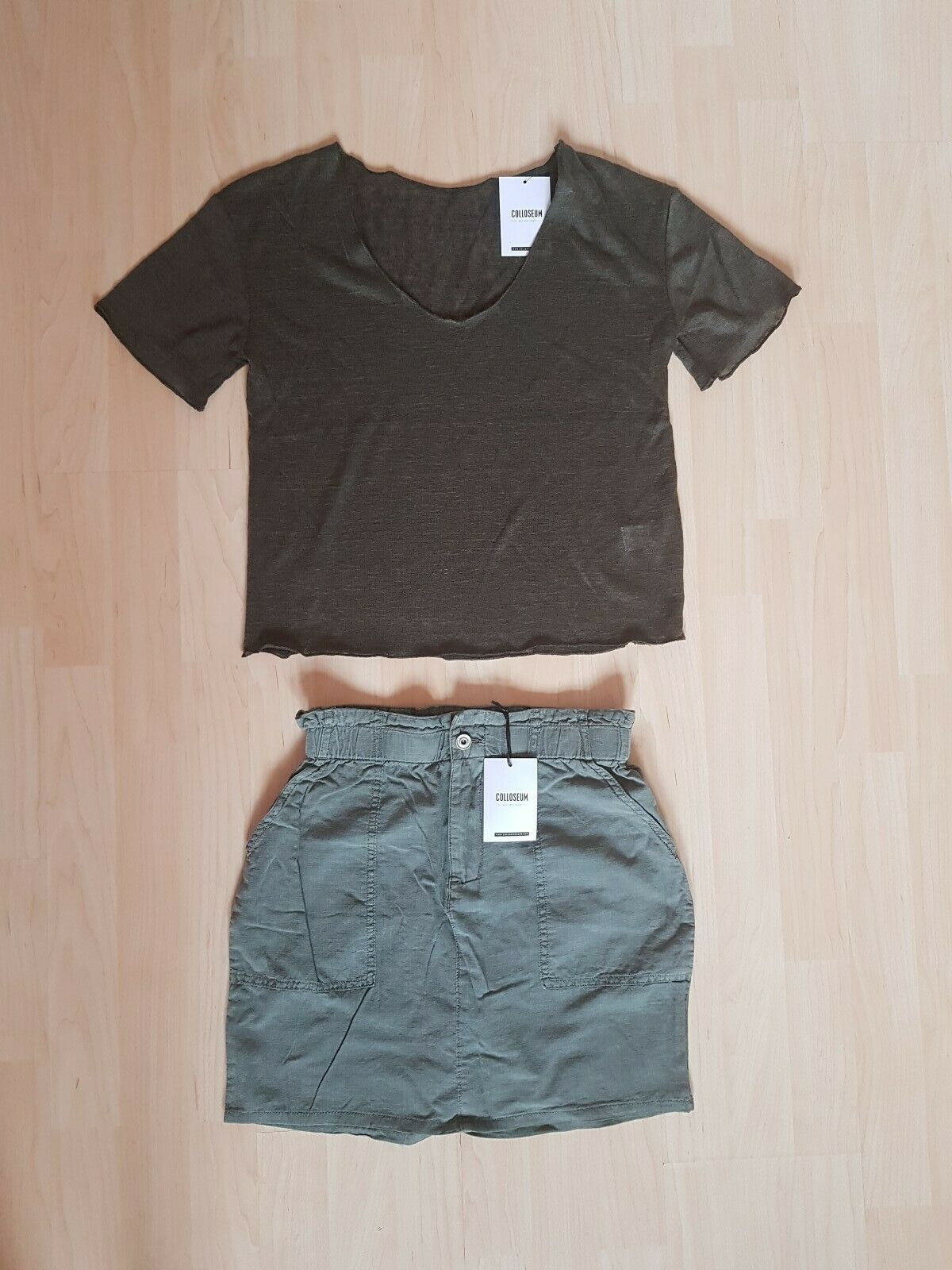 Colloseum 2 tlg. Damen Dschungel Safari Set Shirt Mini Rock Gr. 34 XS grün khaki