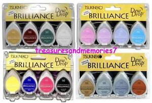 Tsukineko BRILLIANCE DEW DROP Lot of 16 PIGMENT Pads = 4 Sets of 4 Ink Pads