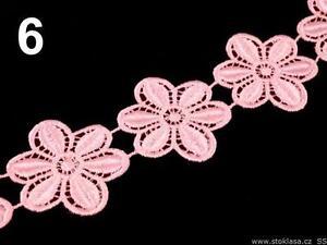 Spitze Spitzenband  Borte Spitzenborte  Zierband Ätzespitze Blumen rosa 4,5 cmbr