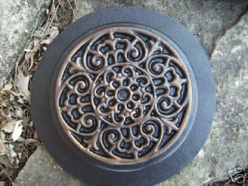"""Scroll stepping stone mold plaster concrete mould 9/"""" x 1.5/"""" thick"""