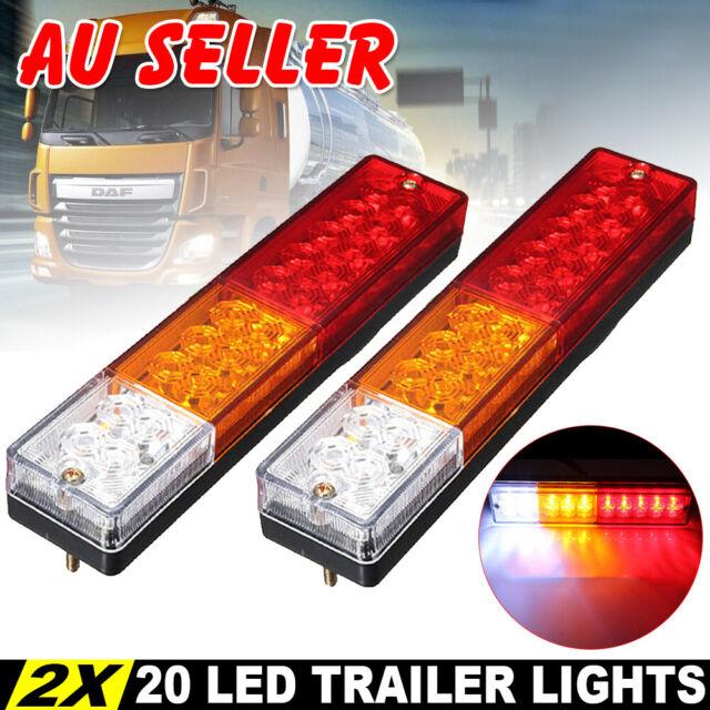 2X 12V Trailer Lights 20 LED Caravan Truck Camper Stop Tail Indicator Reflectors