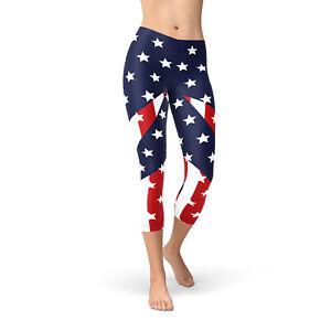 Women/'s Plus American Flag Star Stripe Pattern Printed Leggings