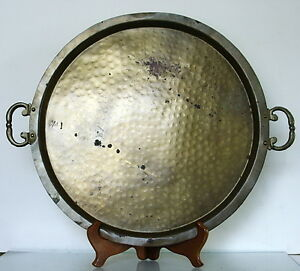 L-A-R-G-E-Antique-Brass-Imperial-Russian-Samovar-Tray-c-1900