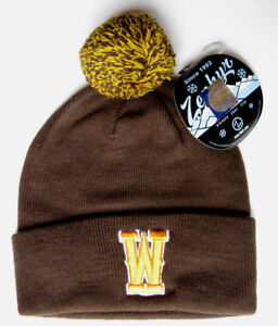 WYOMING-COWBOYS-BROWN-NCAA-VINTAGE-KNIT-RETRO-BEANIE-POM-Z-WINTER-CAP-HAT-NWT