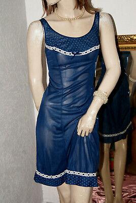 Freundlich Castellana Nylon Unterkleid Negligee Nachtblau Italy Pünktchen Und Spitze 40