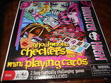 New Monster High ghoul-moku checkers and mini playing cards games
