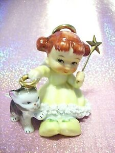 SUPER-RARE-VTG-Christmas-Ardalt-Angel-Holds-Cat-Halo-w-Gold-Star-Wand-Figurine