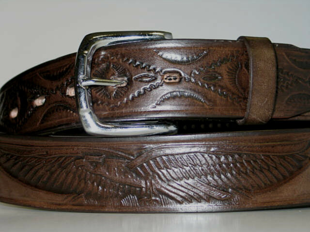 "BROWN 100% Leather Tooled EAGLE Belt SNAP OFF Buckle XLARGE 42"" Trucker Biker"