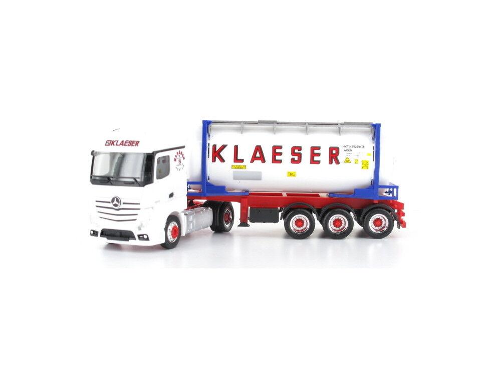 Herpa 934930 h0 Camion Mercedes Actros Streamspace Swapcontainer-Semi-remorque Klaeser