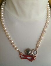 Necklace Pearl Freshwater Coral cameo jewelry Rosè 925 made in italy