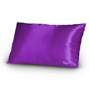 Pair-of-Satin-Lingerie-Pillowcases-King-Size-Purple-New