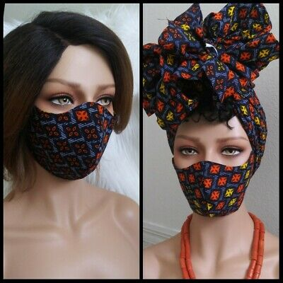 African  Print Head Wrap And Mask Combo
