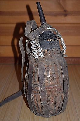 Antique Ethiopian Woven Fiber & Leather Milk Jug W Cowry Shells