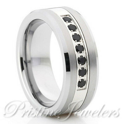 Tungsten Carbide 7 Black CZ Silver Titanium Band Men Wedding Engagement Ring 8mm