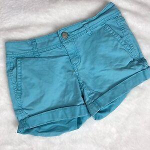 Aeropostale-Women-039-s-Teal-Blue-Midi-Twill-Cuffed-Hem-Short-Shorts-Size-00