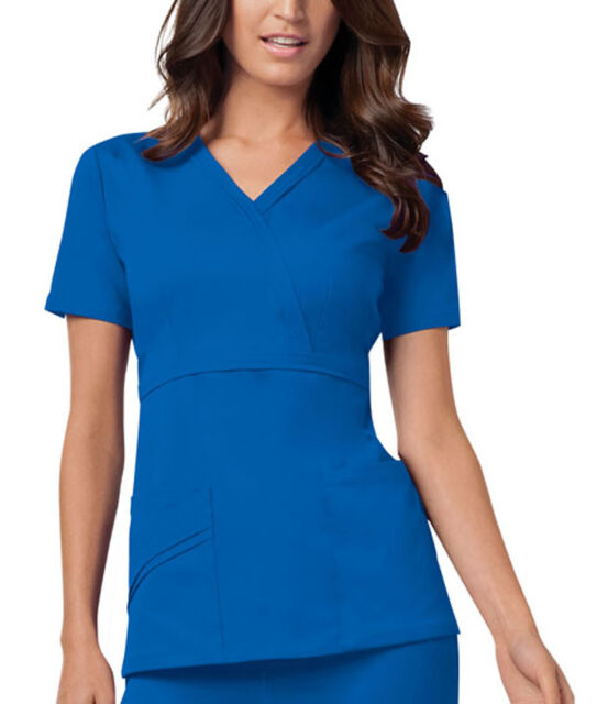 Cherokee Scrubs Mock Wrap Top 1841 GABV Galaxy Blue Free Shipping