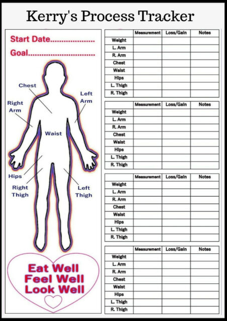 Personalised Reusable Diet Weight Loss Chart Progress Tracker Body  Measurements