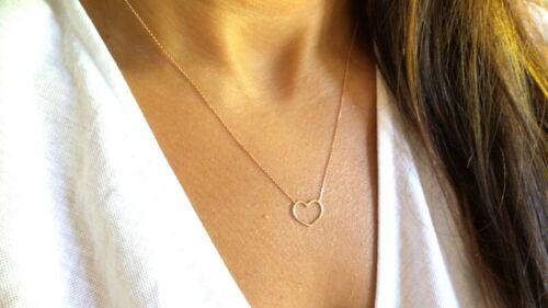 HEART NECKLACE 14K ROSE GOLD 585 SOLID GOLD ADJUSTABLE LENGTH