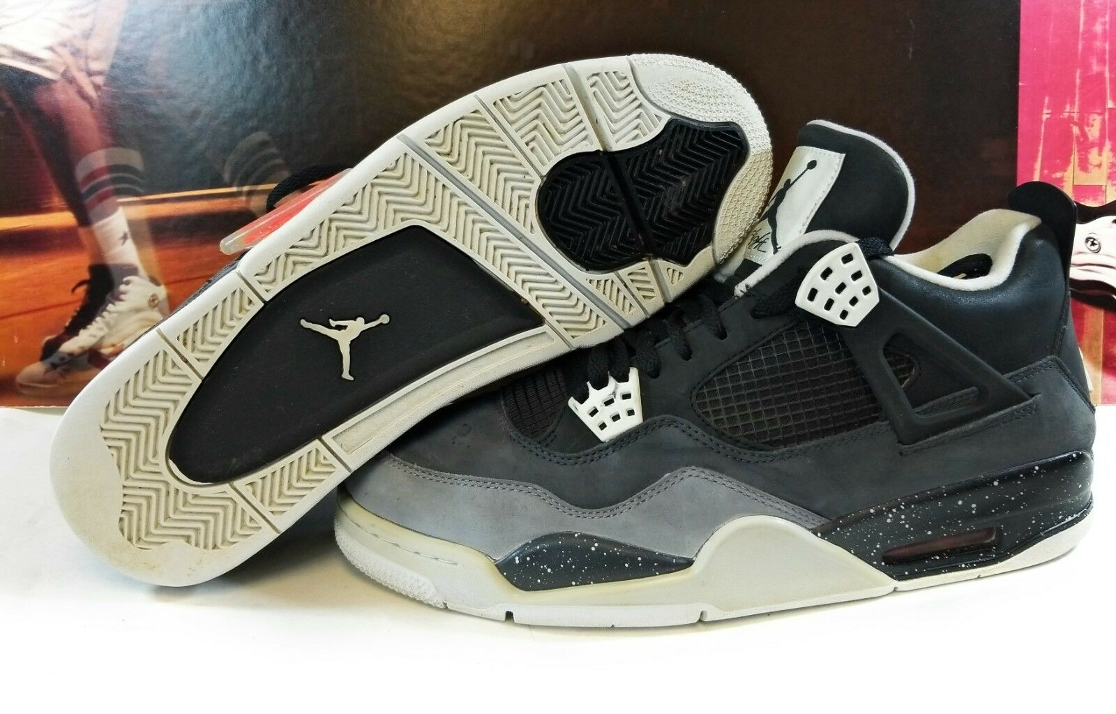 Pre-owned Mens Nike Air Jordan Retro 4 Black Cool Grey Fear Pack Sneakers RARE