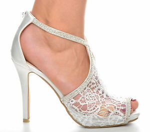 79fb6042207fc Off White Lace Diamante Platform Wedding Sandals Heels T-Bar Peeptoe ...