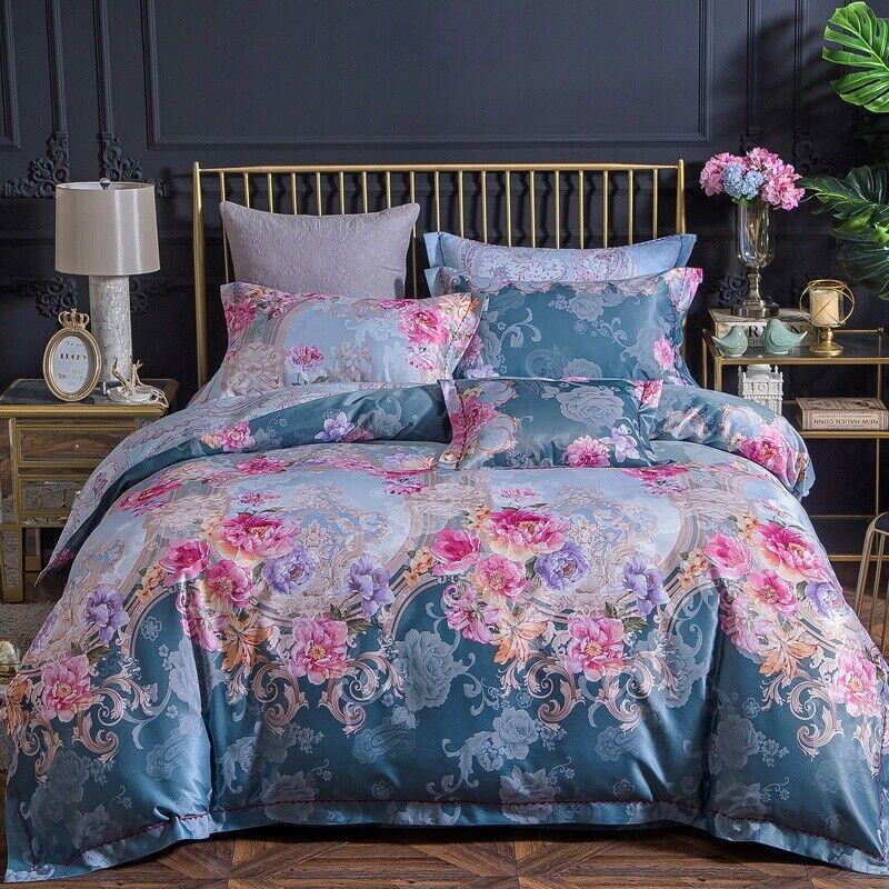 100% cotton jacquard sateen queen Größe bed duvet set + flat sheet NWOT
