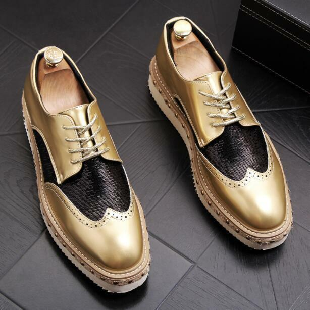 Men's British Fashion Brogue Carved Lace Up Loafers Retro Platform shoes 3 color