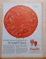 1954 vintage magazine ad for Campbell's Tomato Juice - giant ripe tomato slice