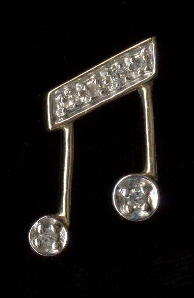 New 10K 17mm Solid Yellow gold Natural Diamond Musical Music Note Pendant qy